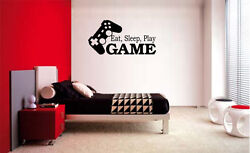 EAT SLEEP PLAY GAME VINYL WALL DECAL LETTERING DECOR STICKER GAMER GAME ROOM $9.45