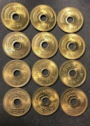 Japan Coin Lot - Lucky Five Yen Coin - Holed Series - Lot of 12 - FREE SHIPPING