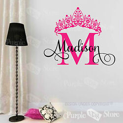 Princess Custom Name Monogram Initial Crown Vinyl Wall Room Decal Sticker $30.99