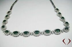 11.90CTW Emerald and Diamond Necklace F SI  in 18K White Gold