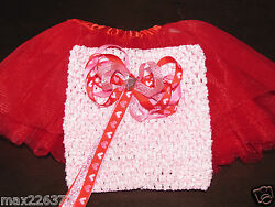 New RED tutu crochet 6quot; top amp; heart BOW VALENTINES baby size newborn 12 months $10.99
