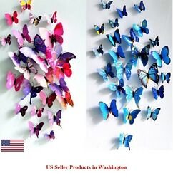 24 Pcs 2 Sets 3D Butterfly Wall Stickers amp; Magnetic Decals Home Room Decor