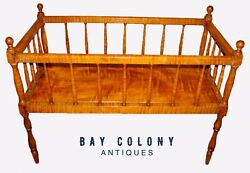 FEDERAL PERIOD SOLID ANTIQUE TIGER MAPLE CRIB WITH SOLID TIGER MAPLE BASE BOARD