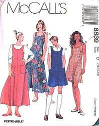 McCall Pattern 8839 Easy Fit Dress Jumper Side Button Opening Back Ties Many SZS