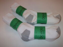 Davido Mens socks crew long 100% cotton made in Italy white gray 6 pack 9 11 $15.00