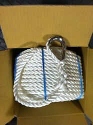 1 2 x 300 REAL NYLON anchor rope dock line w SS Thimble *MUST READ DESCRIPTION* $97.00