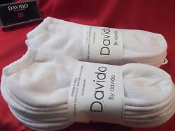 Davido Mens socks ankle low cut 100 %cotton made in Italy white 8 pair siz 10 13 $16.50