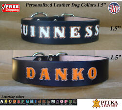 Black Leather Dog Collars Personalized XL Custom Dog Leather Collar made in US $37.00