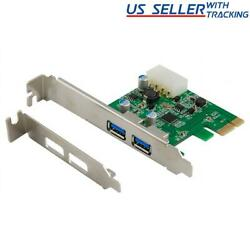 2 Port USB 3.0 PCI Express PCIe Adapter Controller Card Low Profile $13.70
