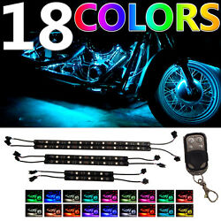 6PC Million-Color LED Motorcycle UnderBody NEON Accent Light Strip Kit w REMOTE