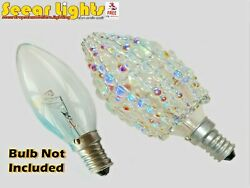 CHANDELIER GLASS LIGHT CANDLE BULB COVER AB BEADS DROPLET CRYSTALS VINTAGE SHADE