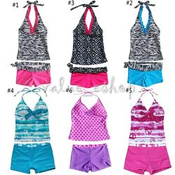KIDS GIRLS BEACH POOL SWIMSUIT SWIMMING COSTUME BIKINI TANKINI EACHWEAR $11.17