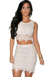 Fashion Graceful Sexy Two piece Lace Skirt Sets White Medium $29.99