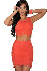Fashion Graceful Sexy Two piece Lace Skirt Sets Orange Large $29.99
