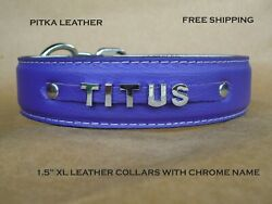 Dog Leather Collar with Name Chrome letters Personalized XL Dog Collars USA $34.00