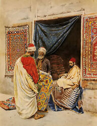 Oil painting giulio rosati - the carpet merchant Arab figures free shipping cost