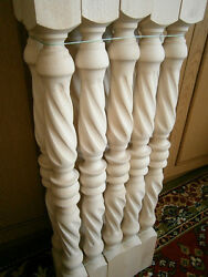 Stair Balusters Spiral Twist Carved Wood Spindles Banisters Staircase Railing