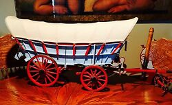 VINTAGE WESTERN  SCALE COVERED WAGON  ART  COWBOY HORSE DRAWN