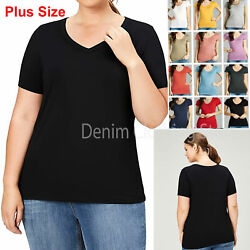 Womens Plus Size Basic Short Sleeve V Neck T Shirt Top Stretch Fitted Solid 1 3x $8.85
