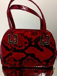 Judith Leiber Purse Red Black Snake Blk Crystals Accessories