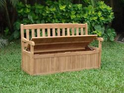 5 FEET OUTDOOR PATIO TEAK GARDEN BENCH w STORAGE BOX FURNITURE DEVON COLLECTION