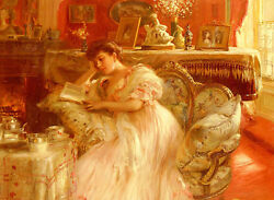 Oil painting Fernand Toussaint - quiet afternoon nice young woman reading book