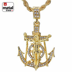 Men#x27;s Hip Hop 14K Gold Plated Anchor Jesus Cross Pendant 24quot; Rope Chain Necklace $12.99