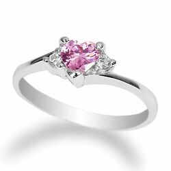 Ladies 10K White Gold Solid Solitaire Ring Pink Tourmaline colored CZ