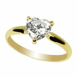 Ladies  Yellow Gold Plated Fashion Solitaire Ring Heart CZ Center Simple