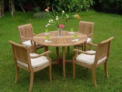 5 PC DINING TEAK SET GARDEN OUTDOOR PATIO POOL FURNITURE GIVA ARMS DINING DECK