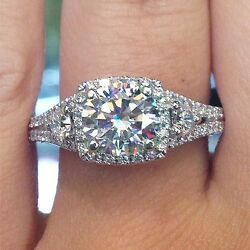 Natural 1.91 Ct.Round Cut Diamond Halo Engagement Three Stone Ring Conflict Free
