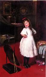 Wonderful Oil painting karoly brocky - the party dress nice young girl