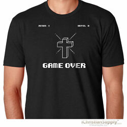 GAME OVER Christian T Shirt Gift Tee Mens Funny Video Gamer Jesus God Cross NEW $9.95
