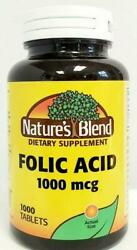 Nature#x27;s Blend Folic Acid 1000 mcg 1mg Tablets 1000ct Expiration Date 09 2022 $19.95