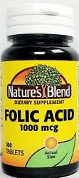 Nature#x27;s Blend Folic Acid 1000mcg 1mg Tablets 100ct Expiration Date 09 2022 $9.99