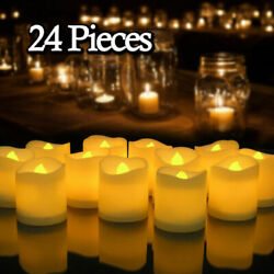 24 PCS Flameless Votive Candles Battery Operated Flickering LED Tea Light $12.19