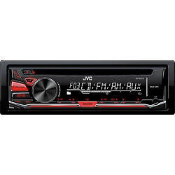JVC 1-DIN Car Stereo CD Player Receiver with Aux in & Detachable Face  KD-R370