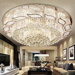 LED Remote Control Real K9 Crystal Ceiling Lights Pendant Lamps Chandeliers 0018