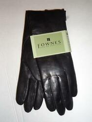 Fownes Plush Genuine White Rabbit Fur Lined Soft Leather GlovesBlack