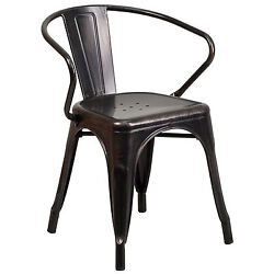 All-Weather Metal Indoor-Outdoor Kitchen Patio Bistro Stackable Chair With Arms