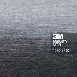 3M 1080 BR201 Brushed Steel Vinyl Car Wrap Sticker