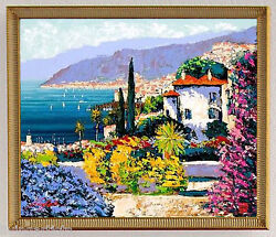 Kerry Hallam VILLA DI MARE Carribean Seascape Framed 20x24 Silk Sreen Canvas