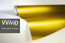 VVIVID8 gold chrome satin matte car wrap vinyl 40ft x 5ft conform stretch 3MIL