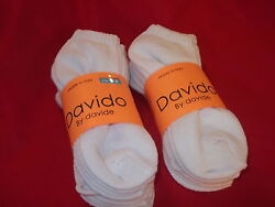Davido women socks ankle low cut made in Italy 100%cotton 8 pair white size 6 8 $14.50
