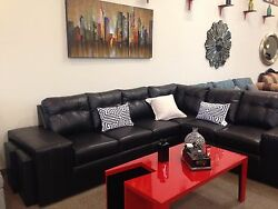 Black Choco All Faux Leather or Combined Suede or Linen Sectional with 4 stools
