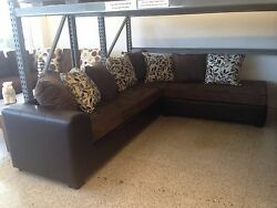 Choco or Black Faux Leather combined with Beige or Choco Suede 2 piece sectional