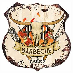 BP 0015 BARBECUE Shield Rustic Chic Sign Bar Store Shop Home Decor Gift $23.95