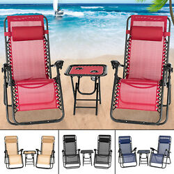 2 Zero Gravity Folding Lounge Beach Chairs+Utility Tray Patio Outdoor Recliner