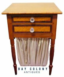 19TH C FEDERAL PERIOD BIRDS EYE MAPLE ANTIQUE NIGHTSTAND WORK TABLE STAND $1575.00