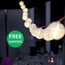 String Lights Chinese LED Hanging For Patio Long Set 10 White Oriental Nylon